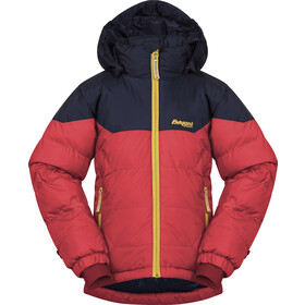Bergans Ruffen Donsjas Kinderen, light dahlia red/navy/waxed yellow